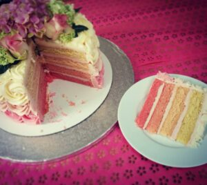 Ombre Cake with Fresh Flowers