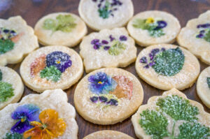 Edible Flowers and sugar crunch on orange blossom cookies