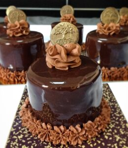 Chocolate cookie, chocolate ganache and chocolate mousse
